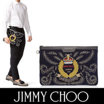 Jimmy Choo A4 Bi-color Plain Leather Oversized Clutches