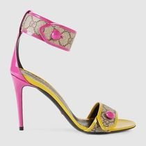 GUCCI Monogram Open Toe Enamel Bi-color Pin Heels Heeled Sandals