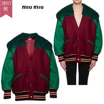 MiuMiu Casual Style Wool Bi-color Medium Oversized Varsity Jackets