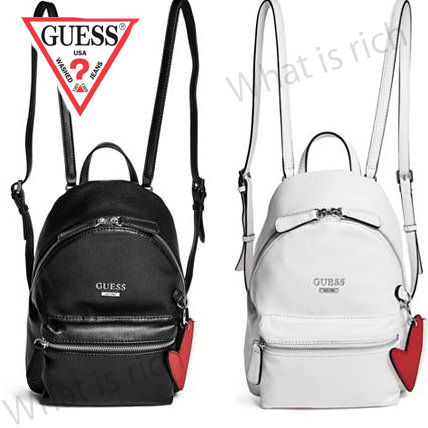 Synthetic leather simple logo backpack