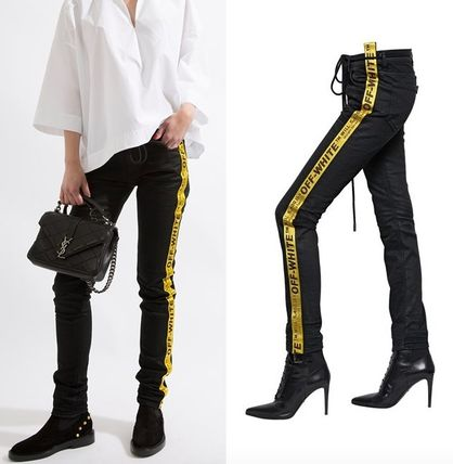Off-White Plain Cotton Long Skinny Jeans