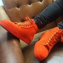 Christian Louboutin Straight Tip Suede Street Style Plain Sneakers