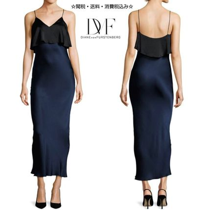 DVF Elegant Silk Satin Long Dress