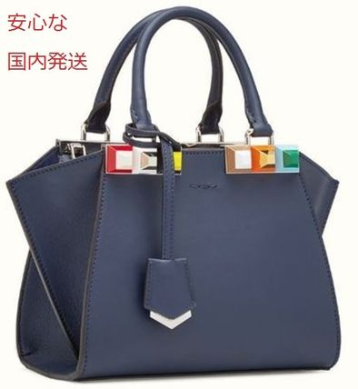 Small 3 jour studded 3 wayBag Blue Leather