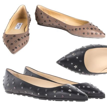 Jimmy Choo Star Rubber Sole Leather Elegant Style Slip-On Shoes
