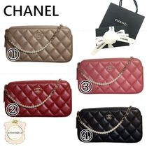 CHANEL MATELASSE Lambskin 2WAY Plain Party Style Shoulder Bags