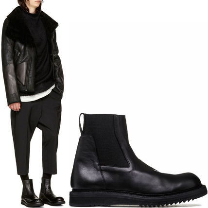 RICK OWENS 17-18 AW RO 127 CREEPER ELASTIC BOOTS IN BLACK LEATHER