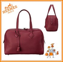 HERMES Victoria Plain Leather Elegant Style Totes
