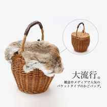 Casual Style Fur Straw Bags