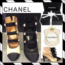 CHANEL Round Toe Plain Leather Elegant Style High Heel Boots