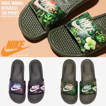 e38d817fc8ea ... Nike Flat Tropical Patterns Casual Style Street Style Shower Shoes ...