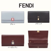 FENDI Calfskin Plain Long Wallets