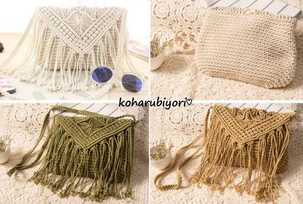 Fringe paper shoulder bag