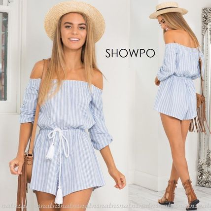 Short Stripes Casual Style Tassel Cotton Dresses