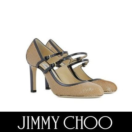 Jimmy Choo Round Toe Blended Fabrics Bi-color Plain Leather Pin Heels