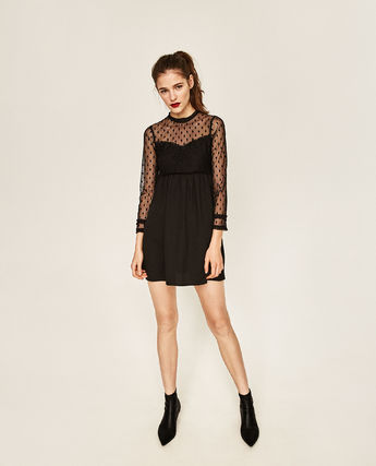 Dots lace dress to party party dress