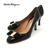 Salvatore Ferragamo Round Toe Plain Leather Pin Heels Office Style