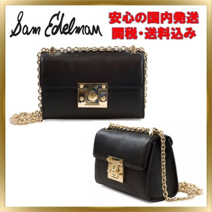 Chain Plain Leather Elegant Style Crossbody Shoulder Bags
