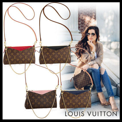 Louis Vuitton Monoglam 2WAY Chain Leather Elegant Style Shoulder Bags