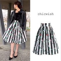 Chicwish Flared Skirts Stripes Casual Style Other Animal Patterns