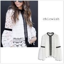 Chicwish Bi-color Lace Elegant Style Puff Sleeves Shirts & Blouses