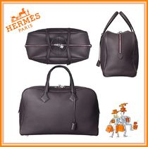 HERMES Victoria Unisex A4 Plain Leather Office Style Totes