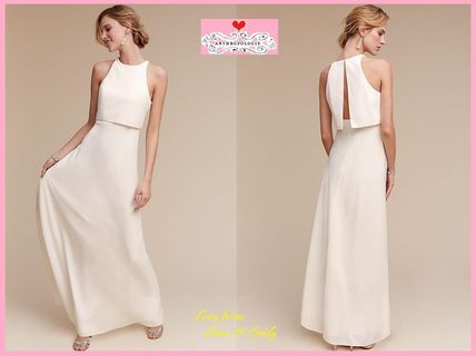 Maxi Sleeveless U-Neck Plain Long Elegant Style Dresses