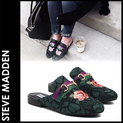 Steve Madden Flower Patterns Plain Toe Elegant Style Sandals Sandals