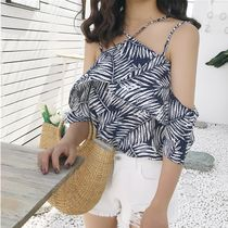 Tropical Patterns Casual Style Street Style Plain Cotton