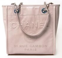 CHANEL DEAUVILLE Casual Style 2WAY Chain Leather Totes