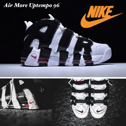 Nike AIR MORE UPTEMPO Faux Fur Street Style Plain Sneakers