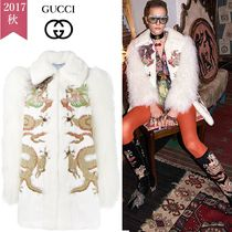 GUCCI Stand Collar Coats Fur Other Animal Patterns Medium