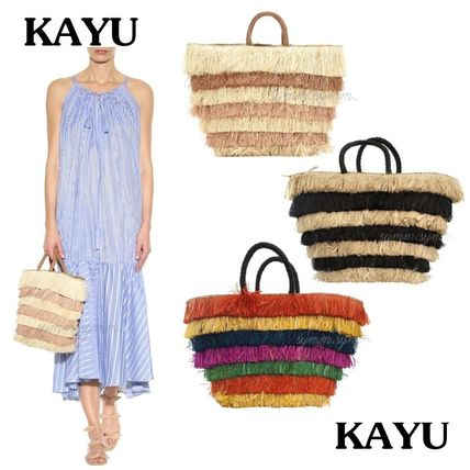 Stripes Casual Style A4 Purses Fringes Straw Bags