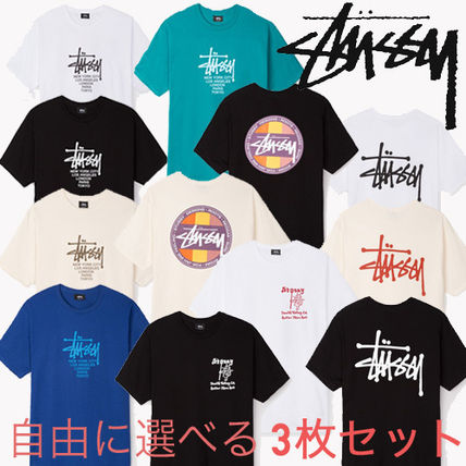 STUSSY Crew Neck Pullovers Tropical Patterns Street Style Plain