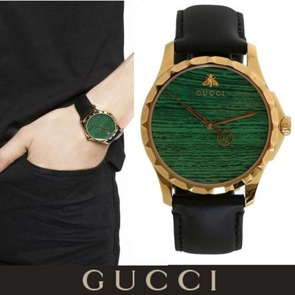GUCCI Casual Style Unisex Leather Round Quartz Watches