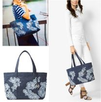 Michael Kors Flower Patterns Casual Style Canvas A4 Plain Totes