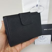 PRADA Calfskin Plain Folding Wallet Folding Wallets