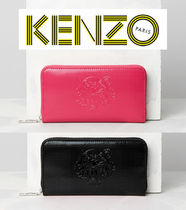 KENZO Unisex Plain PVC Clothing Long Wallets