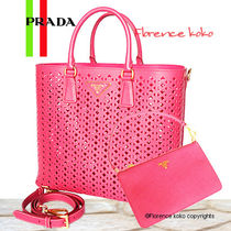 PRADA SAFFIANO LUX Peonia PInk Perforated Saffiano Lux Tote Bag