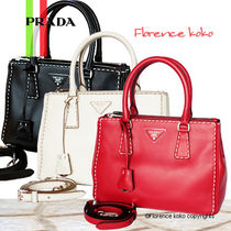 PRADA GALLERIA Fuoco Red Stitching City Calf Double Zip Galleria Tote Bag