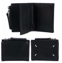 Maison Martin Margiela Unisex Plain Leather Folding Wallets