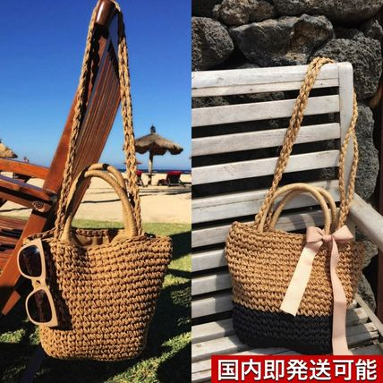 2 WAY basket shoulder ribbon bag