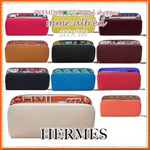 HERMES Silk In Unisex Calfskin Plain Long Wallets