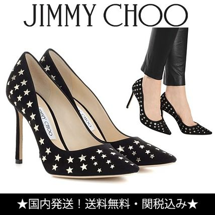 ROMY 100 star pattern suede pumps with punching