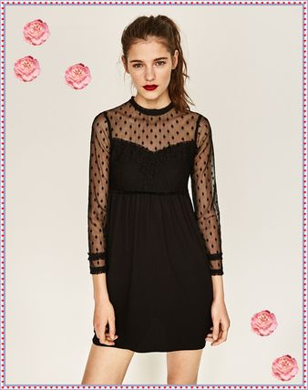 ZARA wedding reception party to Dots lace dress dress