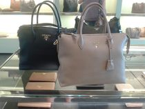 PRADA Plain Leather Office Style Totes