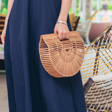 C112 Bag Bamboo basket half-round design