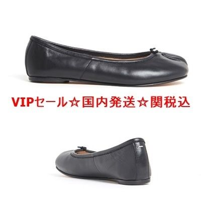 ' TABI ' calf leather flat shoes black