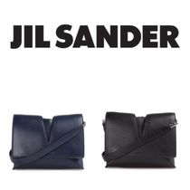 Jil Sander Chain Plain Leather Elegant Style Shoulder Bags