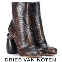 Dries Van Noten Round Toe Leather Python Elegant Style Chunky Heels